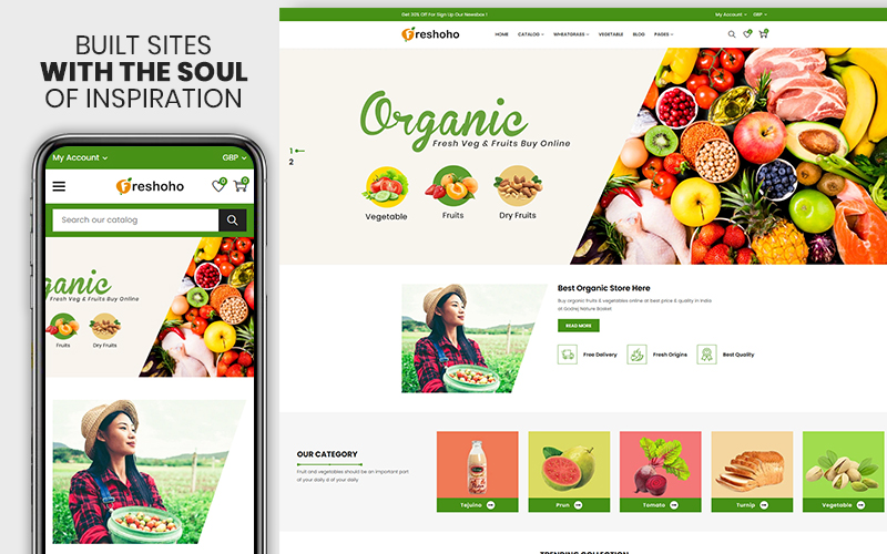 "Tema Shopify ""Freshoho - Vegetables & Fruits Premium"" #155073"