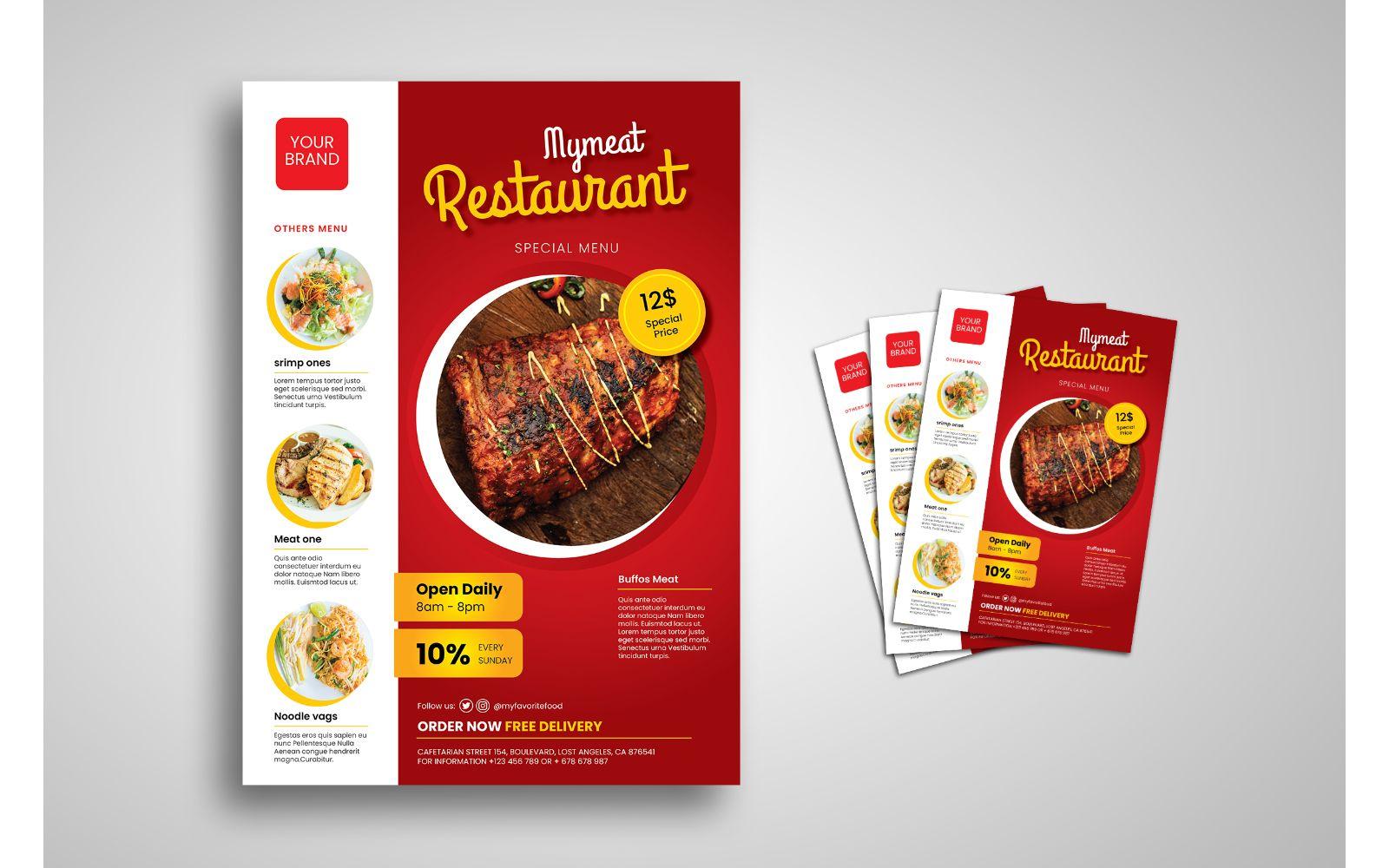 """Unternehmensidentität Vorlage namens """"Flyer  Restaurant"""" #155323"""