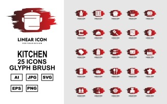 25 Premium Kitchen Glyph Brush