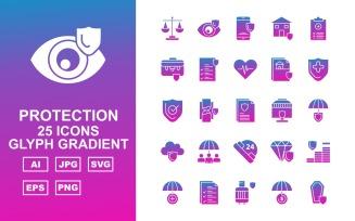 25 Premium Protection Glyph Gradient
