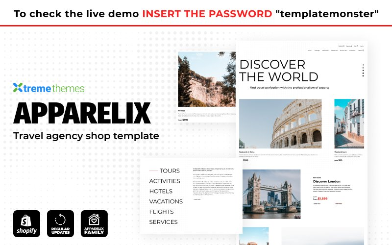 """Apparelix Tour and Travel Agency Template"" Responsive Shopify Thema №155582"