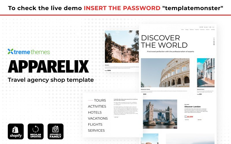 """Apparelix Tour and Travel Agency Template"" thème Shopify adaptatif #155582"
