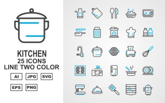 25 Premium Kitchen Line Two Color Icon Set