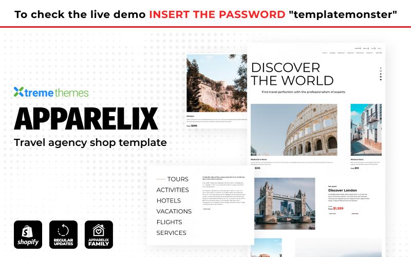 Reszponzív Apparelix Tour and Travel Agency Template Shopify sablon 155582
