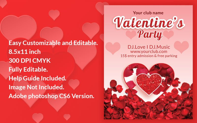 """""""Valentines Day Flyer"""" PSD Template №155598"""