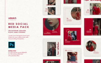 Red PSD Mockups Set - Instagram Posts and Stories Social Media Template