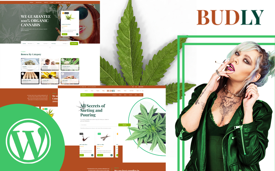 """Budly - Cannabis Shop"" Responsive WordPress thema №155666"