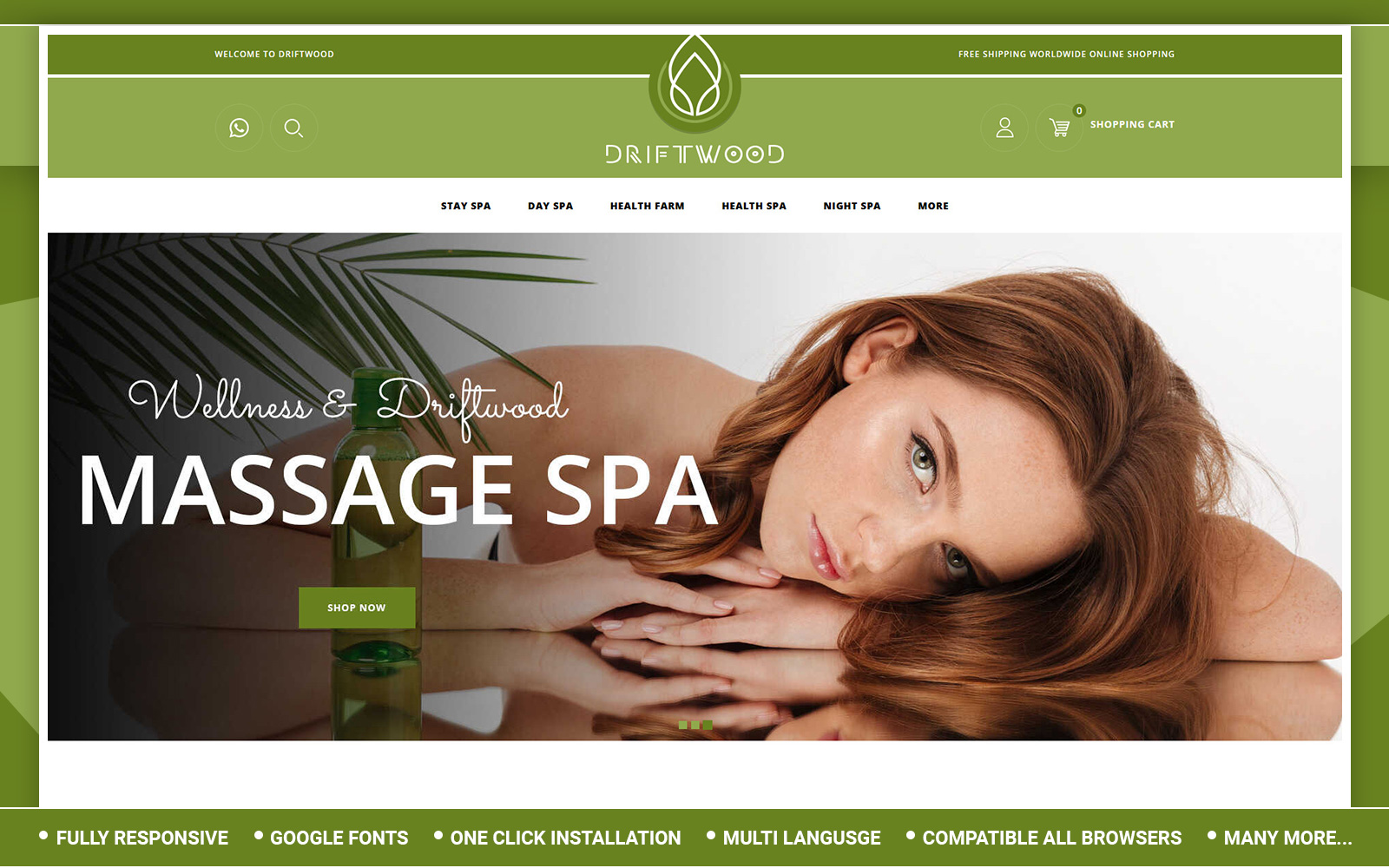 Driftwood - Spa Store Template OpenCart №155664