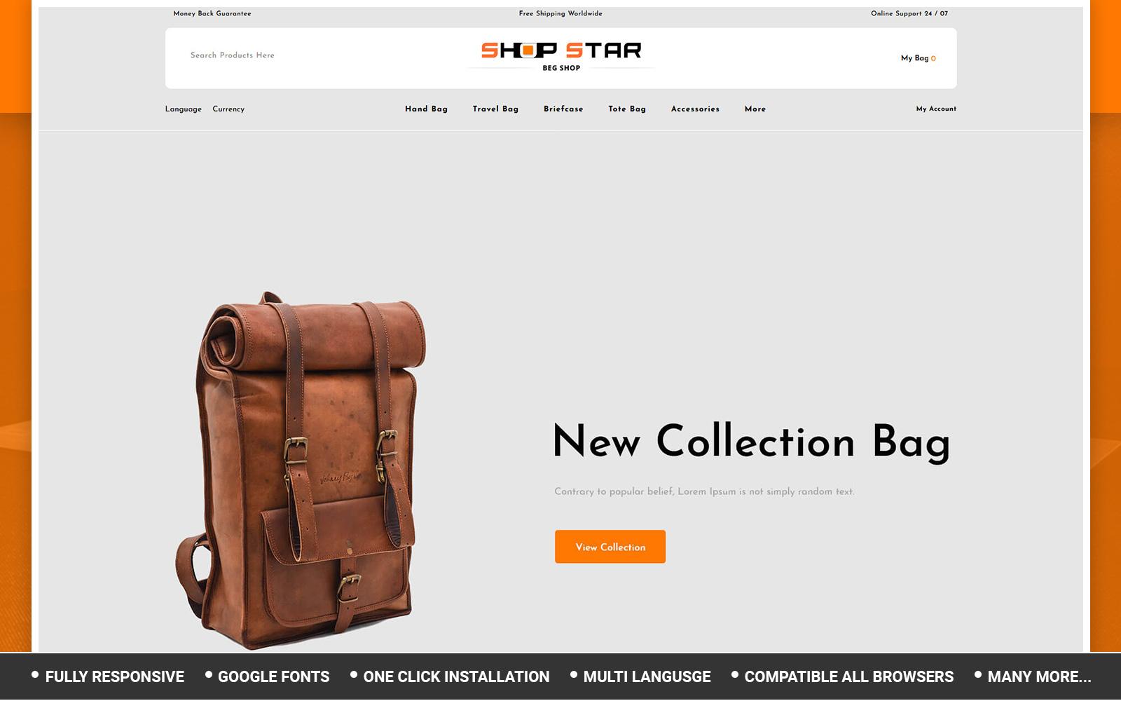 """""""Shopstar - Bag Store"""" - адаптивний OpenCart шаблон №155661"""