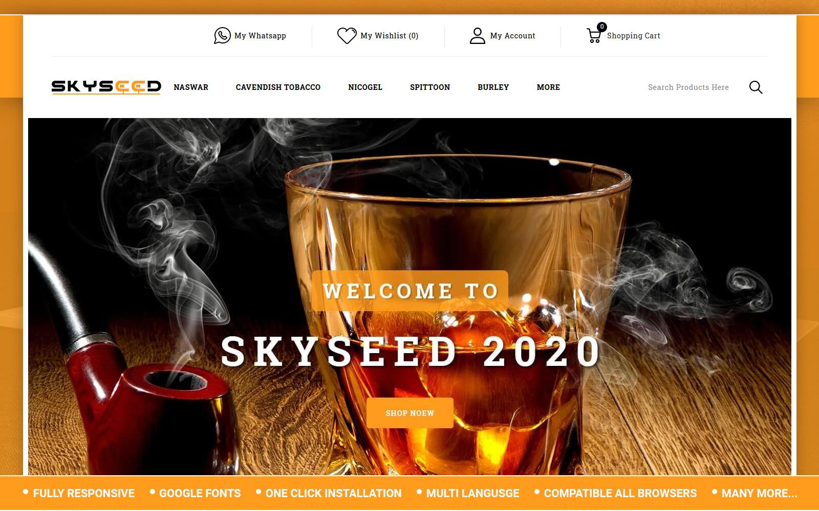 """Skyseed - Tobacco Store"" - адаптивний OpenCart шаблон №155662"