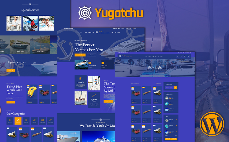 """Yugatchu Luxury Yacht Club Service and Marine shop WooCommerce Theme"" Responsive WooCommerce Thema №155663"