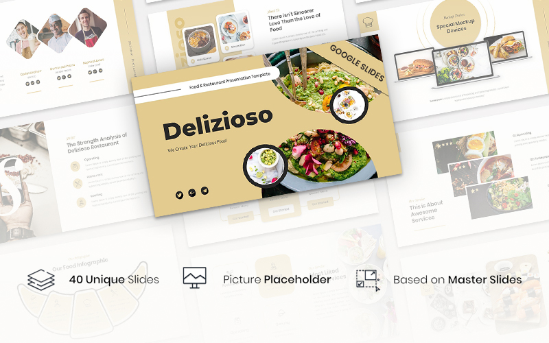 Premium Delizioso – Food & Restaurant Presentation Template Google Slides #155821