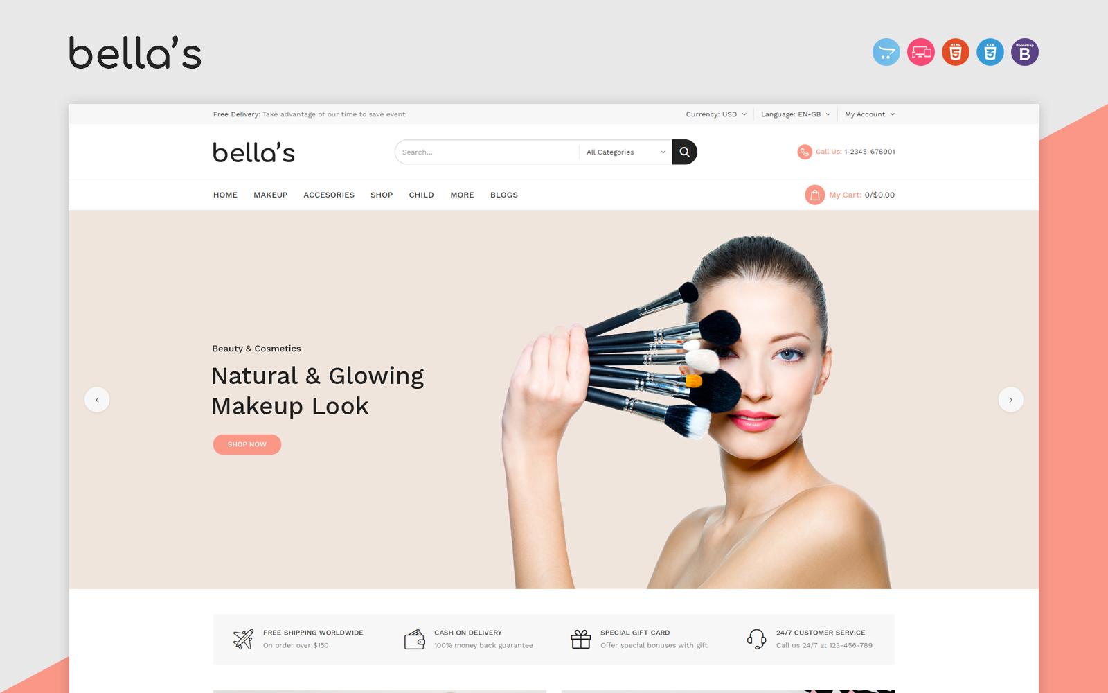 """""""Bellas"""" - адаптивний OpenCart шаблон №156074"""