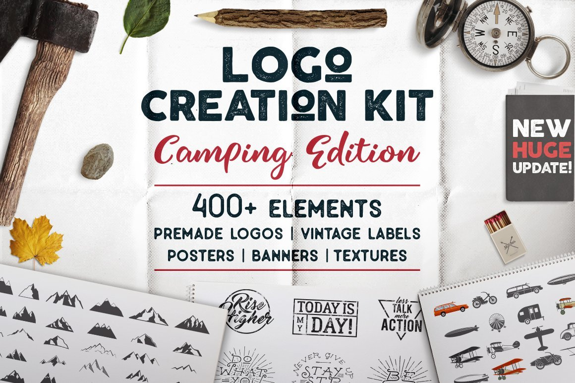 Creation Kit - Camping Bundle Edition. Cricut Files Dxf Template de Logotipo №156069