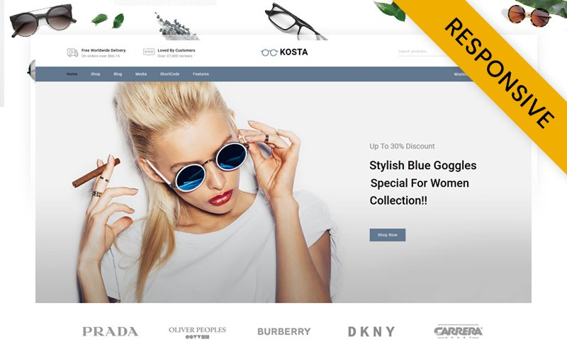 """Kosta Goggles Store"" Responsive WooCommerce Thema №156080"