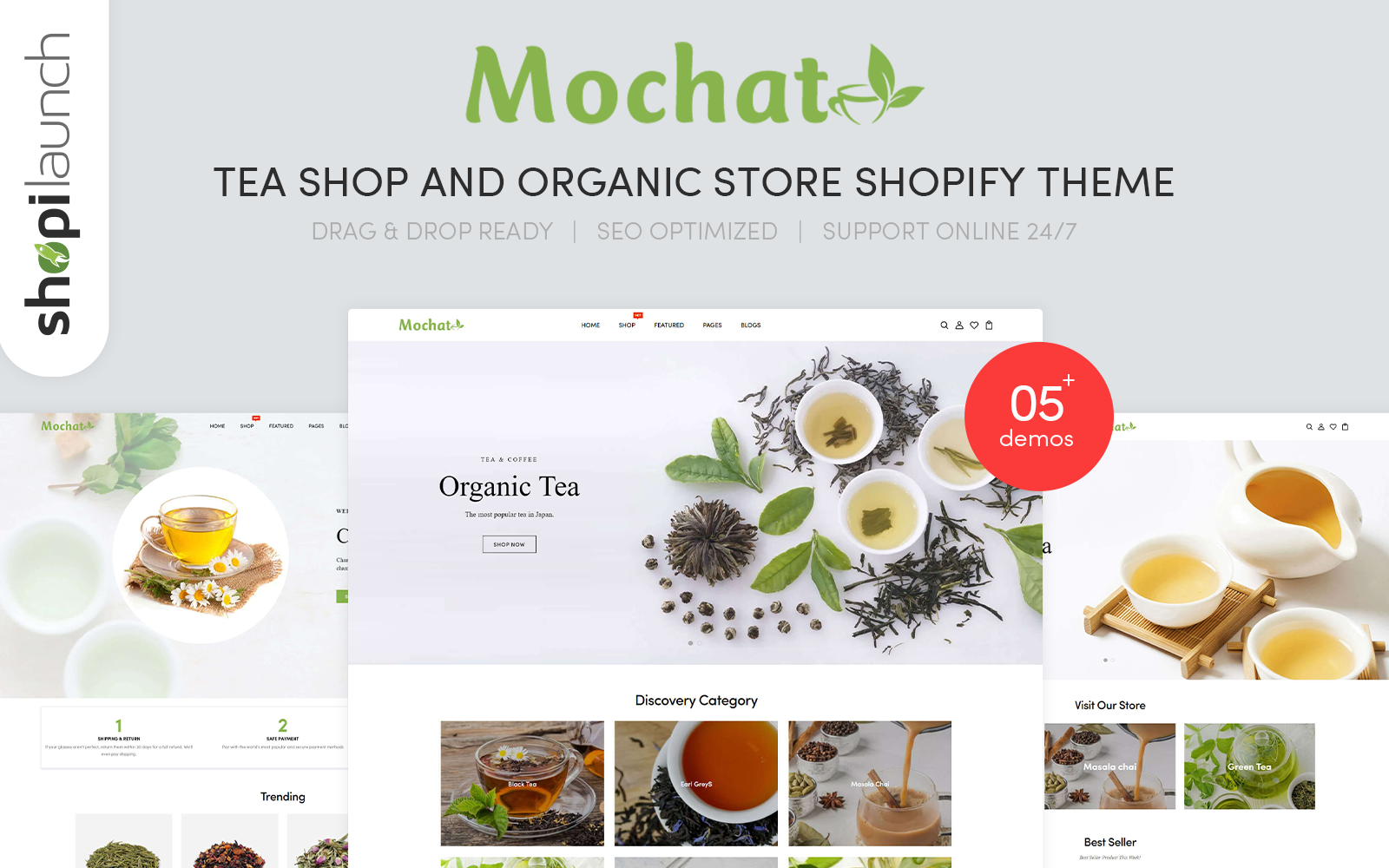 """Mochato - Tea Shop And Organic Store Responsive"" 响应式Shopify模板 #156076"