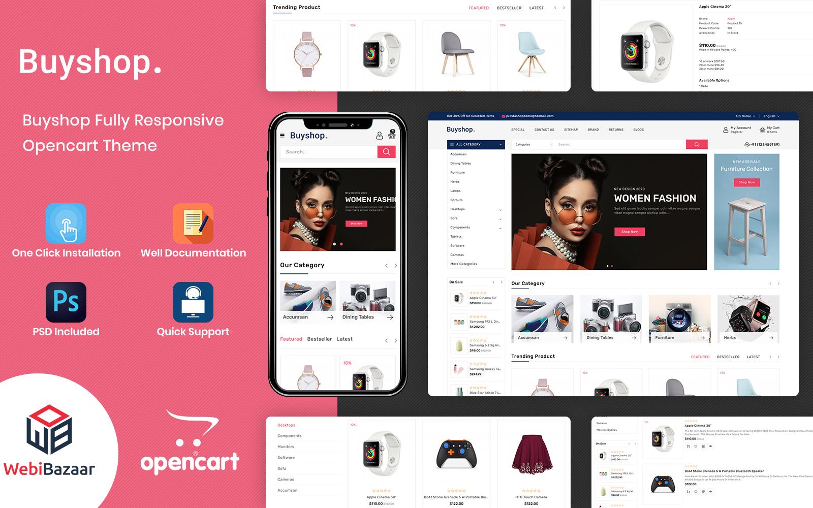 Reszponzív BuyShop - Multipurpose Responsive OpenCart sablon 156078