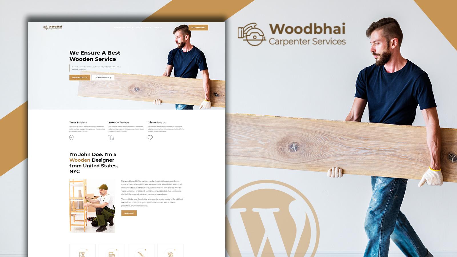 "Tema WooCommerce Responsive #156075 ""Woodbhai - Carpenter Service and Shop"""