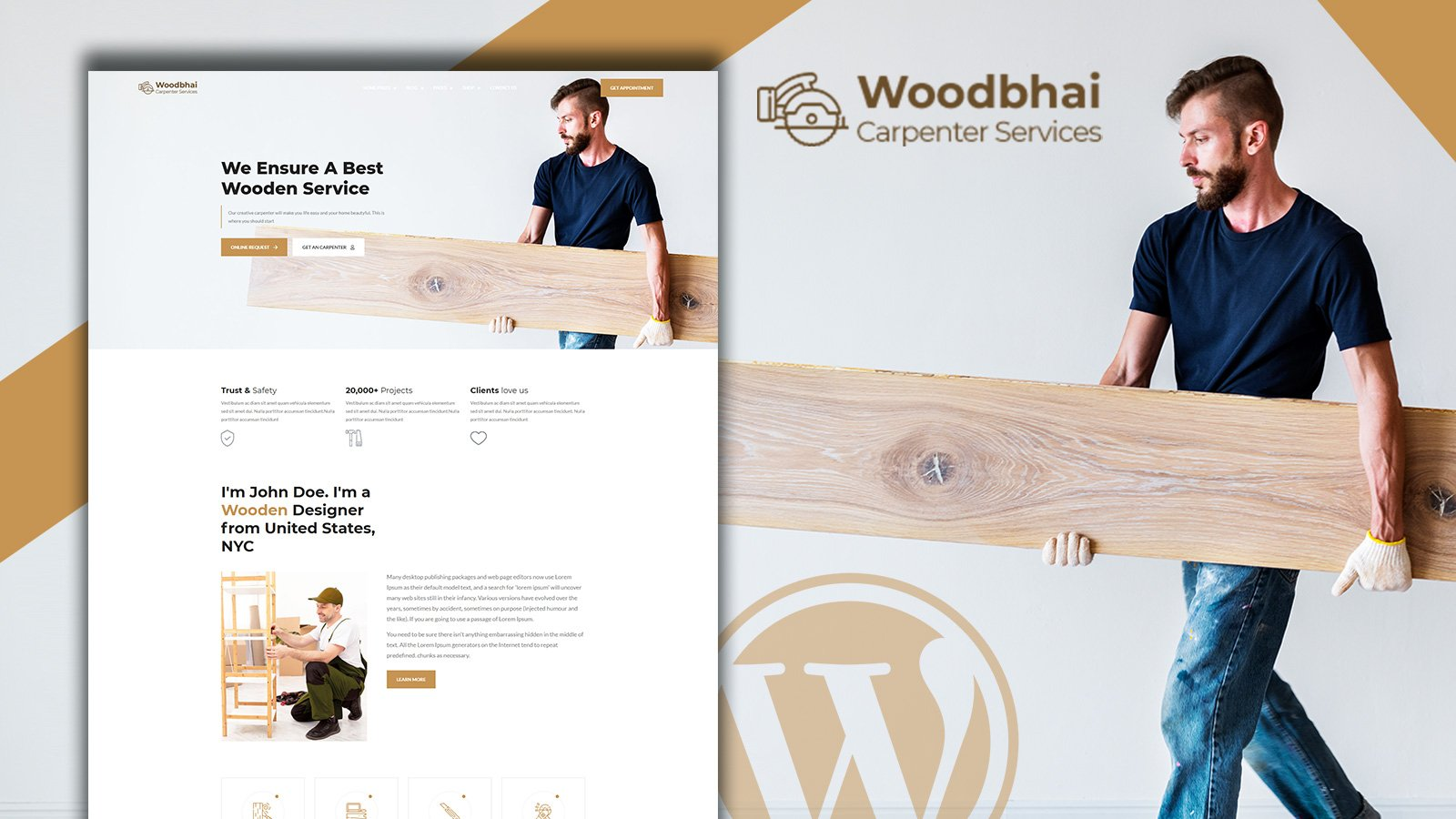 """""""Woodbhai - Carpenter Service and Shop"""" Responsive WooCommerce Thema №156075"""