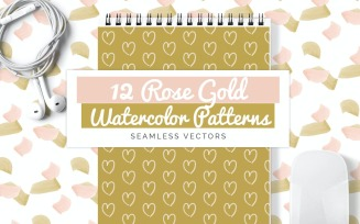 Rose Gold Watercolor Seamless Vector