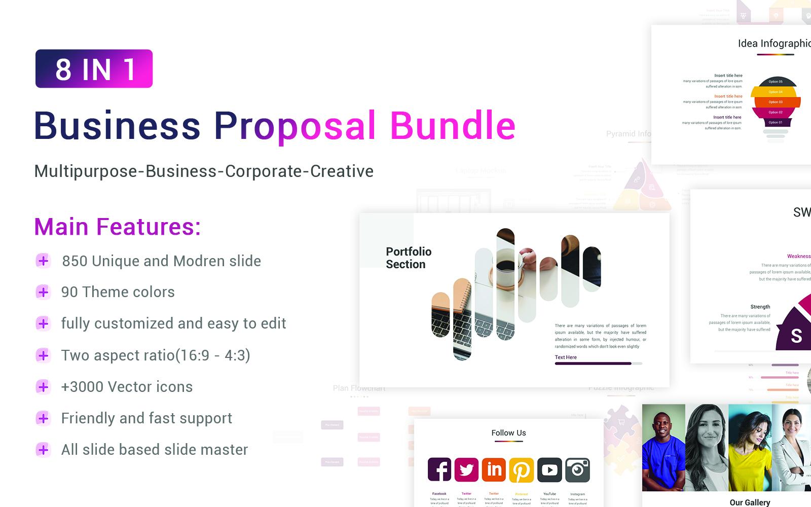 """""""Business Proposal Bundle"""" modèle PowerPoint adaptatif #156116"""
