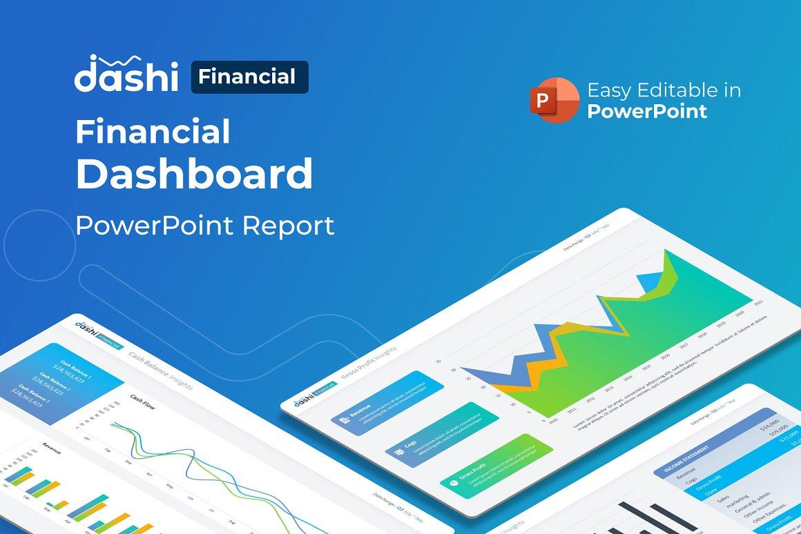 Dashi Financial Dashboard Report Presentation PowerPoint Template