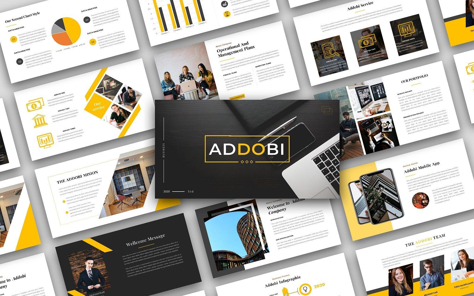 "Luxusní PowerPoint šablona ""Addobi – Creative Business  Presentation"" #156104"
