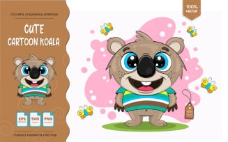 Cute Cartoon Koala.