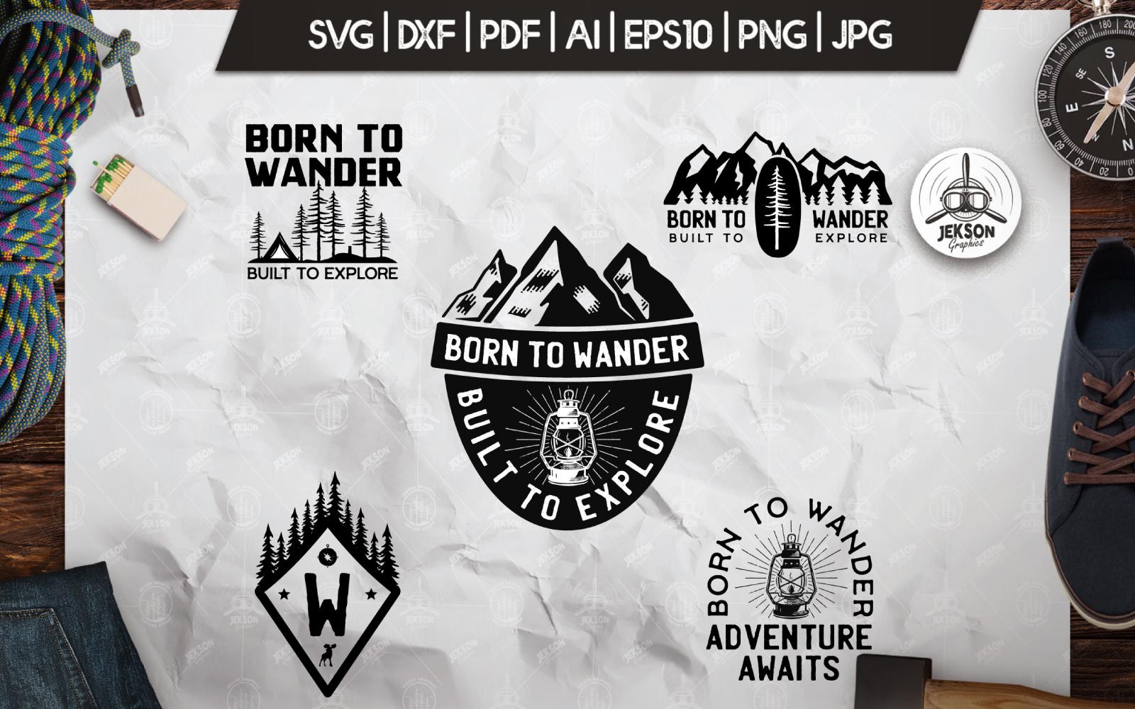 Wanderlust, Retro Vector Camping Badges, Shirt SVG Cut Template de Logotipo №156455