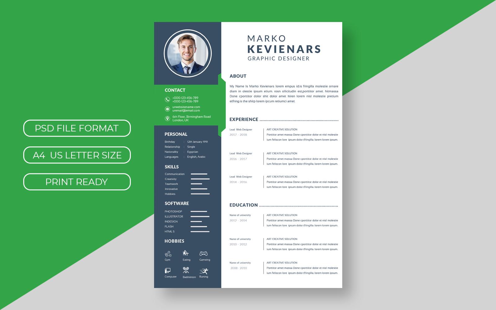 Corporate Green  CV Layout №156673