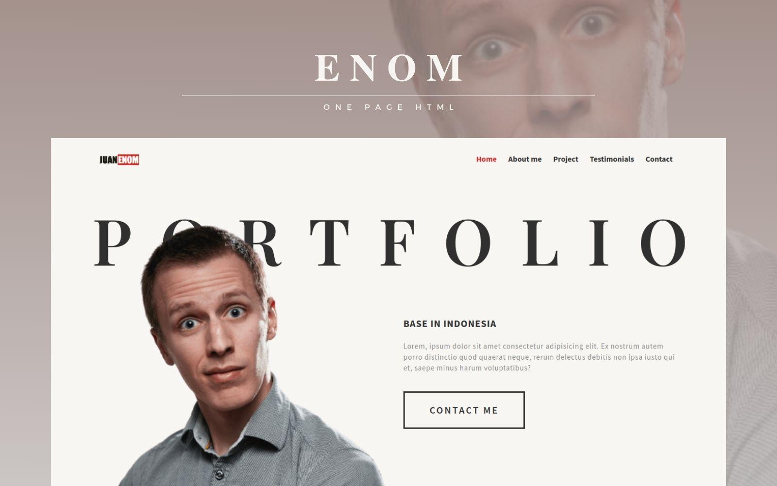"""Enom - Personal Multipurpose Portfolio"" 响应式着陆页模板 #156699"