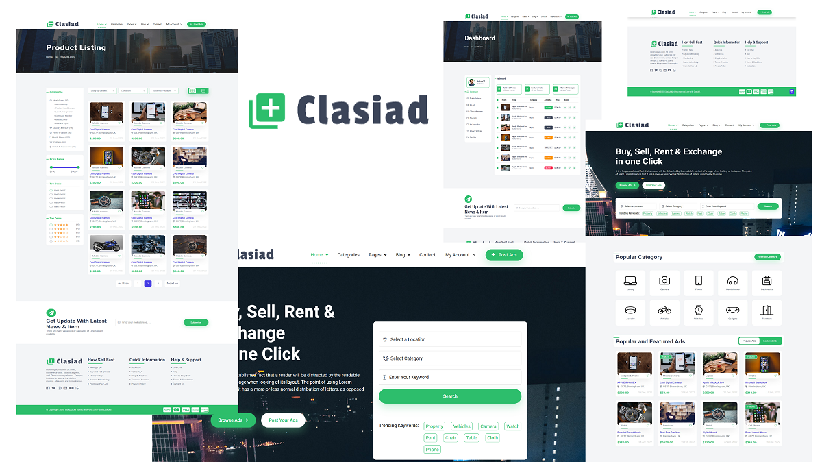 Reszponzív Clasiad - Classified Ads and Listing Weboldal sablon 156698
