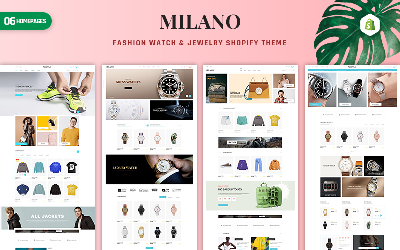"""Milano - Fashion & Accessories"" 响应式Shopify模板 #156701"
