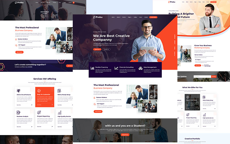 """Prebu - Multipurpose Business Consulting Agency HTML"" Responsive Website template №156700"
