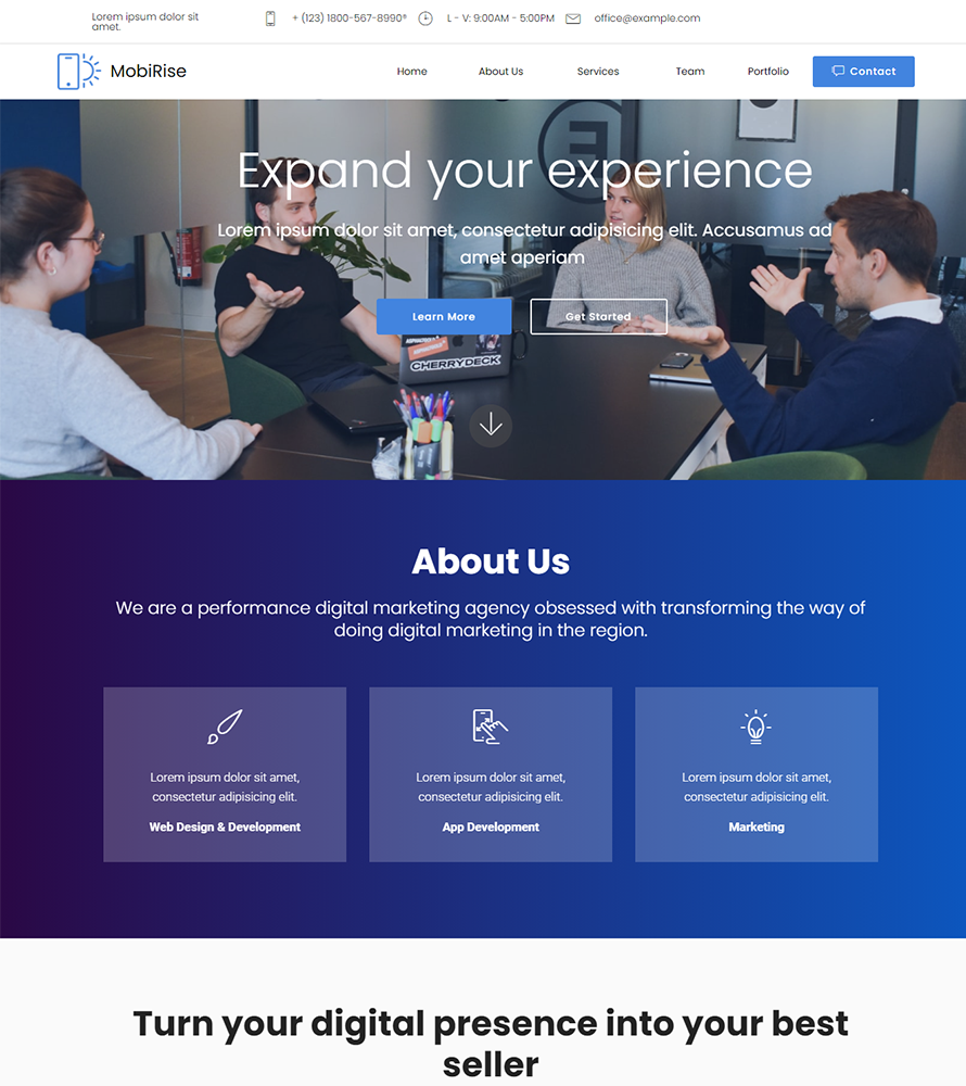 SAM Digital Agency Landing Page Template