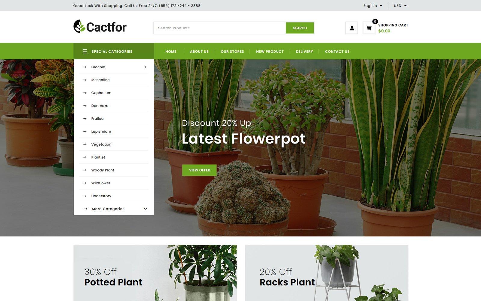 """""""Cactfor - Plants & Gardening Tools Online Store"""" 响应式PrestaShop模板 #157395"""