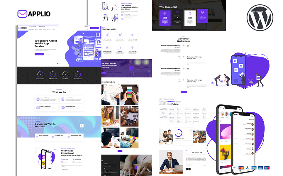 "Modello WordPress Responsive #157397 ""Applio Creative Responsive Mobile App Showcase"""