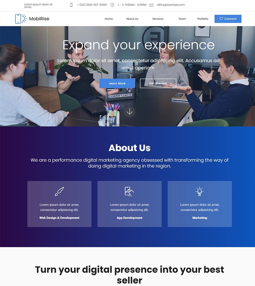 Responsivt SAM Digital Agency Landing Page-mall #157392