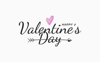 Valentines Day Vintage Lettering on White.