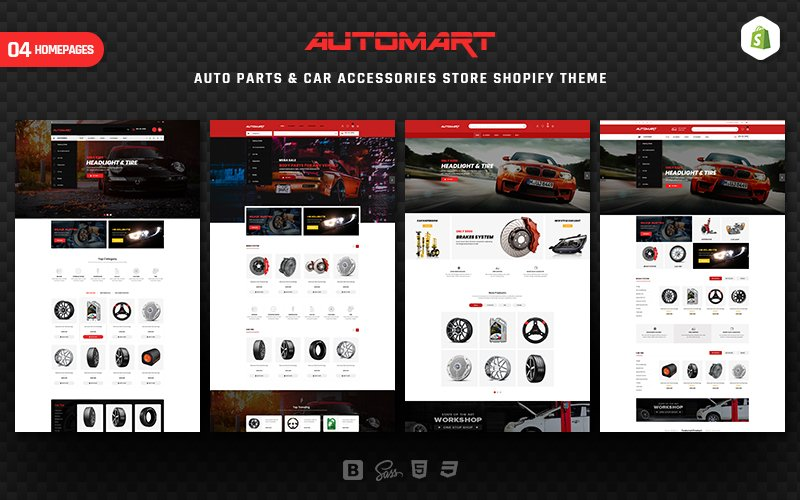 """AutoMart - Auto Parts & Car Accessories"" thème Shopify adaptatif #157404"