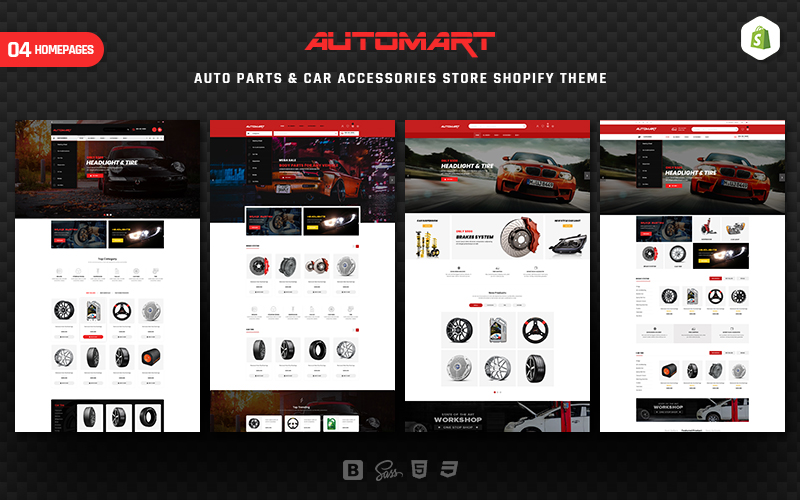 """AutoMart - Auto Parts & Car Accessories"" 响应式Shopify模板 #157404"