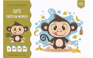 Cute Cartoon Monkey.