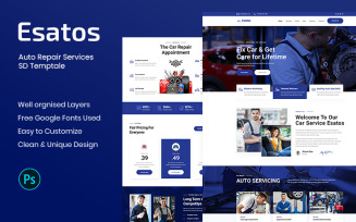 Esatos - Auto Repair Services PSD Template