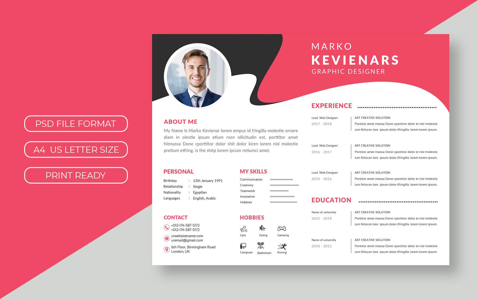 Marko Kevinenars Curriculum Vitae Theme №157573