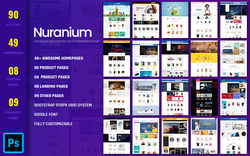 Nuranium - Multipurpose Ecommerce PSD sablon 157595