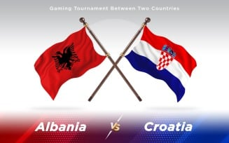 Albania versus Croatia Two Countries Flags