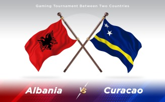 Albania versus Curacao Two Countries Flags
