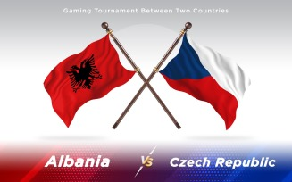 Albania versus Czech Republic Two Countries Flags