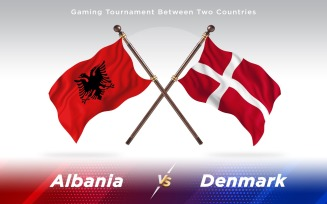 Albania versus Denmark Two Countries Flags