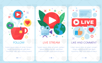 Live Stream Mobile Banners Set - Illustration